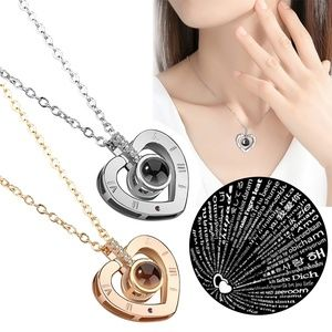 I LOVE YOU in 100 languages Heart Pendant Necklace
